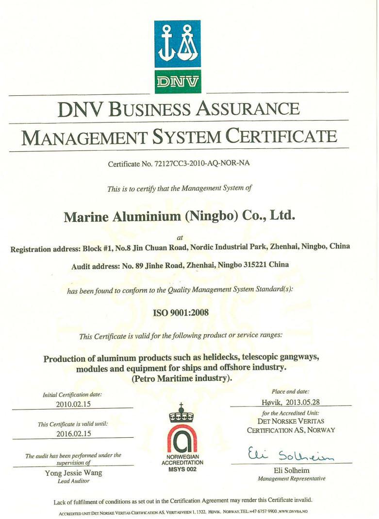 DNV certificate 2013 NINGBO